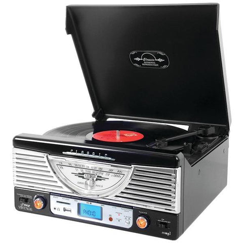 Pyle Home PTR8UBTBK Bluetooth Retro Vintage Classic Style Turntable Vinyl Record Player with USB/MP3 Computer Recording - Peazz.com