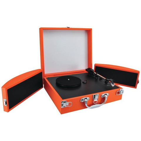 Pyle PVTTBT8OR Bluetooth Classic Vinyl Record Player Turntable with Fold-Out Speakers & Vinyl to MP3 Recording (Orange) - Peazz.com
