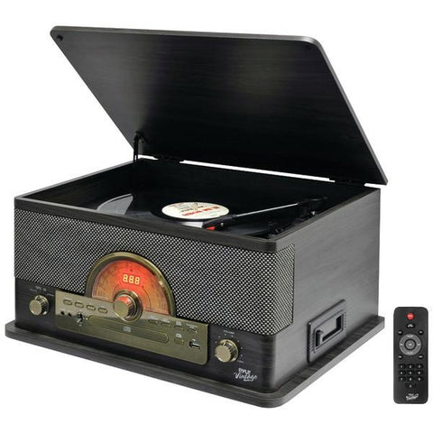 Pyle PTCD56UBGR Retro-Style Bluetooth Turntable System (Gray) - Peazz.com