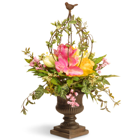 "National Tree RAS-L030138A 25"" Spring Floral Birdcage"
