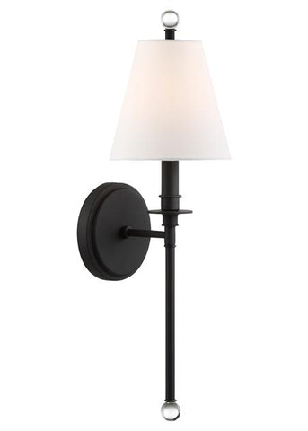 Crystorama Riverdale 1 Light Black Forged Sconce
