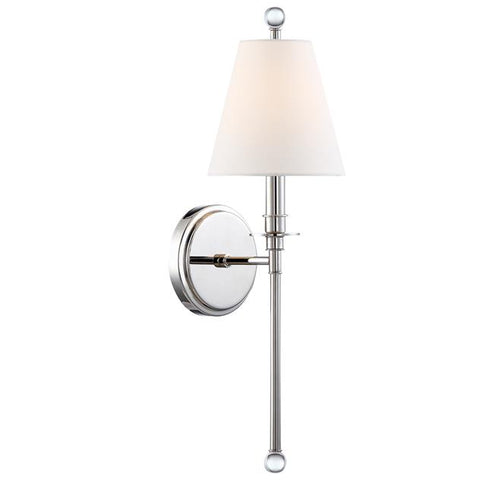 Crystorama Riverdale 1 Light Polished Nickel Sconce