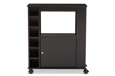 Baxton Studio RT380-OCC Ontario Modern and Contemporary Dark Brown Wood Modern Dry Bar and Wine Cabinet