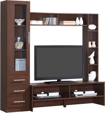 "Techni Mobili RTA-1819-HRY Entertainment Center with Storage For TVs Up To 55"". Color: Hickory - Peazz.com - 1"