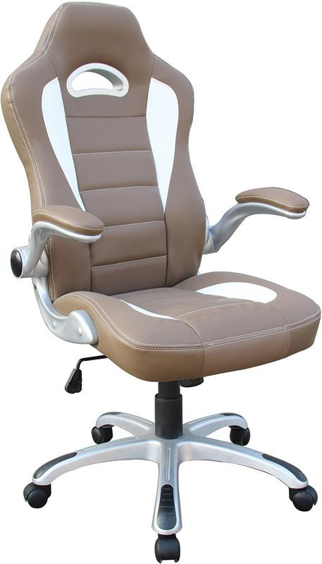 Techni Mobili RTA -3527-CM High Back Executive Sport Race Office Chair with Flip-Up Arms. Color: Camel