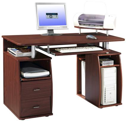 Techni Mobili RTA-8211-M615 Complete Computer Workstation Desk With Storage. Color: Mahogany - Peazz.com - 1
