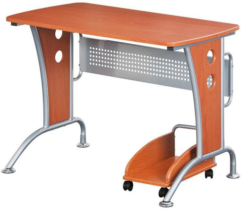 Techni Mobili RTA-8338-DH33 Modern Computer Desk With Mobile CPU Caddy. Color: Dark Honey - Peazz.com - 1