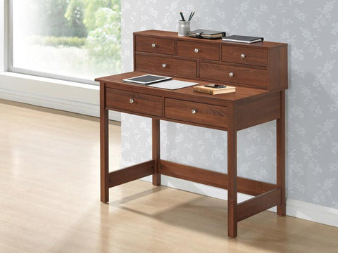Techni Mobili RTA-8401-OAK Elegant Writing Desk with Storage and Hutch. Color: Oak - Peazz.com - 1