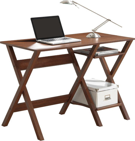 Techni Mobili RTA-8402-OAK Writing Desk with Side Shelves. Color: Oak - Peazz.com - 1