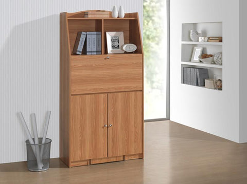 Techni Mobili RTA-8405-PN Computer Armoire with Padded Stool and Storage. Color: Pine - Peazz.com - 1