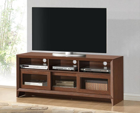 "Techni Mobili RTA-8811-HRY Modern TV Stand with Storage For TVs Up To 65"" . Color: Hickory - Peazz.com - 1"