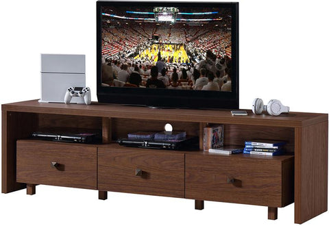 "Techni Mobili RTA-8895-HRY Elegant TV Stand For TV's Up To 70"" with Storage. Color: Hickory - Peazz.com - 1"