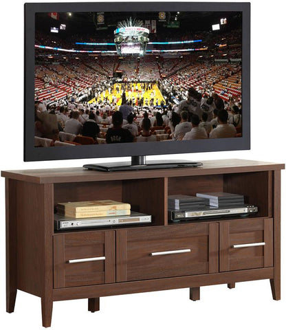 "Techni Mobili RTA-8899-HRY Elegant TV Stand with Storage For TVs Up To 55"". Color: Hickory - Peazz.com - 1"