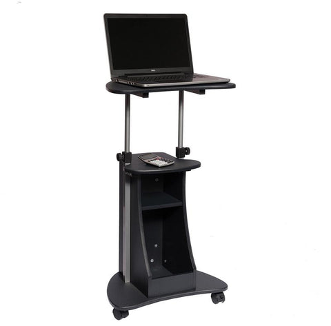 Techni Mobili RTA-B002-GPH06 Rolling Adjustable Height Laptop Cart With Storage. Color: Graphite - Peazz.com - 1
