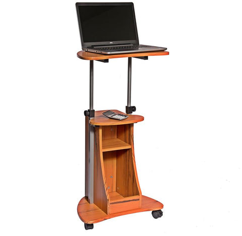 Techni Mobili RTA-B002-WG01 Rolling Adjustable Height Laptop Cart With Storage. Color: Woodgrain - Peazz.com - 1