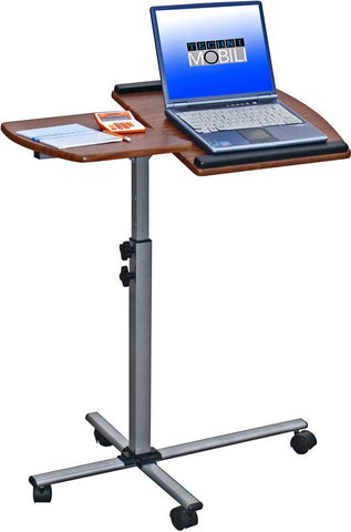 Techni Mobili RTA-B003-M615 Rolling Adjustable Laptop Cart. Color: Mahogany - Peazz.com