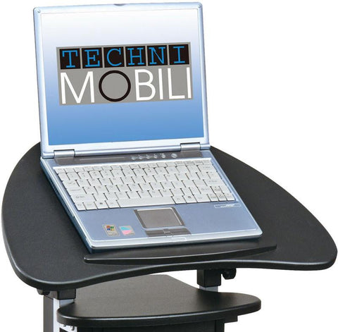 Techni Mobili RTA-B005-BK46 Rolling Adjustable Laptop Cart With Storage. Color: Black - Peazz.com - 1
