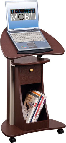 Techni Mobili RTA-B005-CH36 Rolling Adjustable Laptop Cart With Storage. Color: Chocolate - Peazz.com - 1