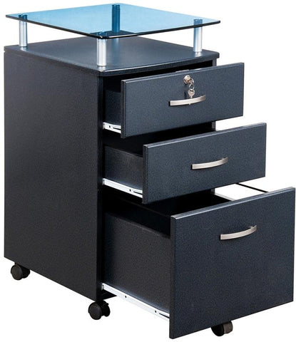 Techni Mobili RTA-S06C-GPH06 Rolling Storage and File Cabinet with Glass Top. Color: Graphite - Peazz.com - 1