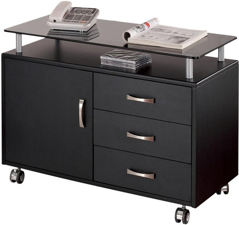 Techni Mobili RTA-S10-GPH06 Rolling Storage Cabinet With Frosted Glass Top. Color: Graphite - Peazz.com