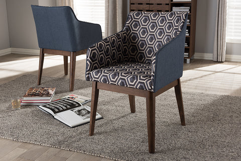 Baxton Studio Reece-Dark-Blue-AC Reece Mid-Century Modern Dark Blue Patterned Fabric Lounge Chair (Set of 2)