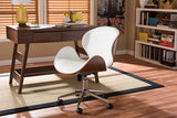 Baxton Studio SDM-2240-5 Walnut/White Bruce Modern and Contemporary White and Walnut Office Chair
