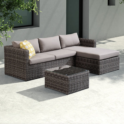 Armen Living SETODHA3SE Hagen 3 piece Outdoor Rattan Sectional Chase Set