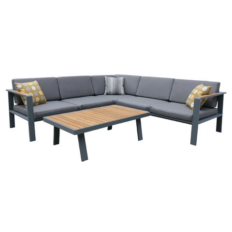 Armen Living SETODNOSEGR Nofi Outdoor Patio Sectional Set in Charcoal Finish