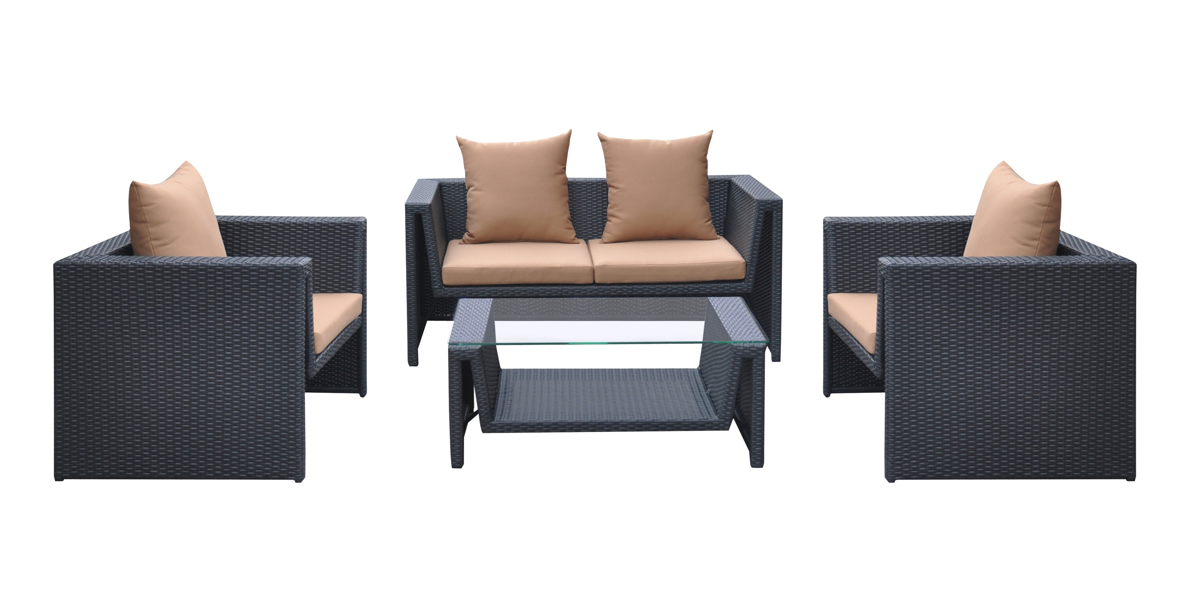 Armen Living Outdoor Wicker Patio Set Oahu