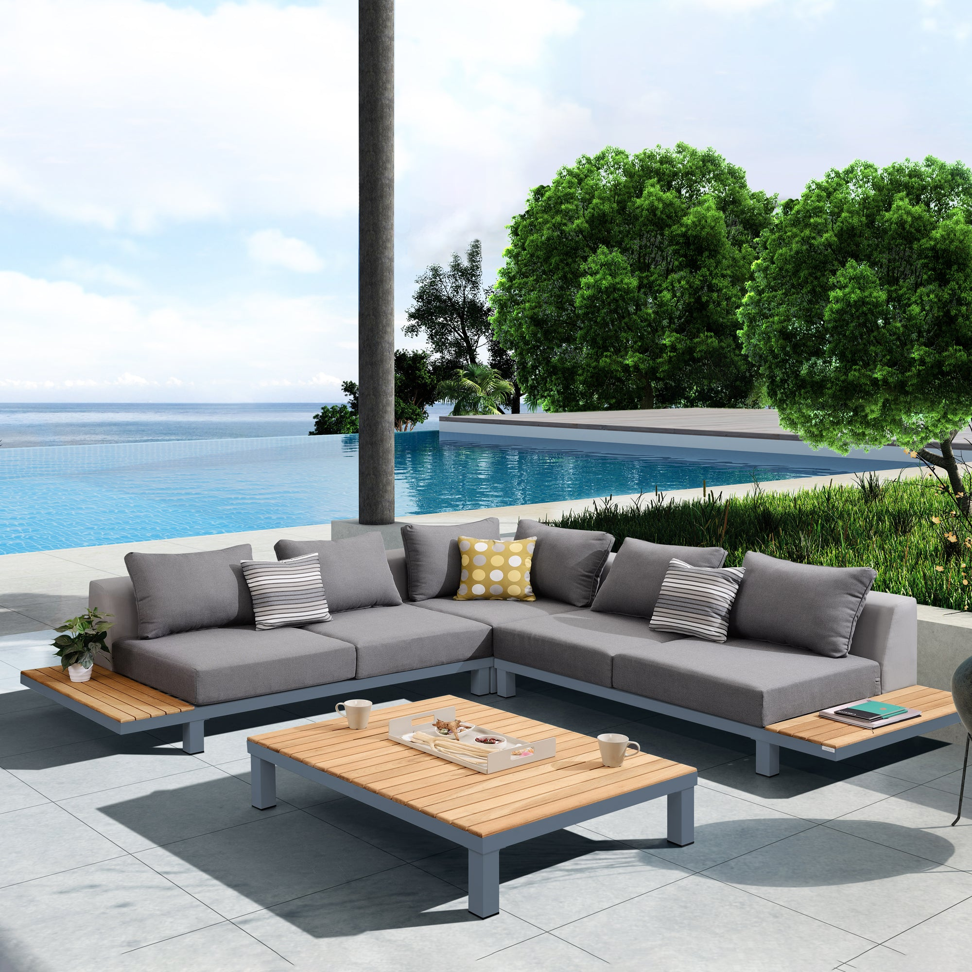 Armen Living Outdoor Sectional Set Polo