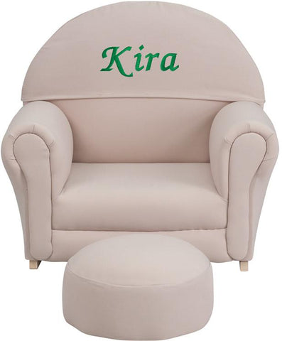 Flash Furniture SF-03-OTTO-BGE-EMB-GG Personalized Kids Beige Fabric Rocker Chair and Footrest - Peazz.com