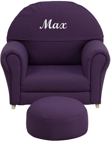 Flash Furniture SF-03-OTTO-PUR-EMB-GG Personalized Kids Purple Fabric Rocker Chair and Footrest - Peazz.com