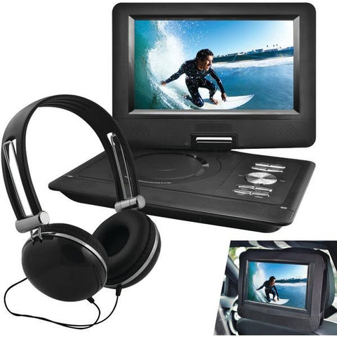 "Ematic EPD116BL 10"" Portable DVD Player with Headphones & Car-Headrest Mount (Black) - Peazz.com"