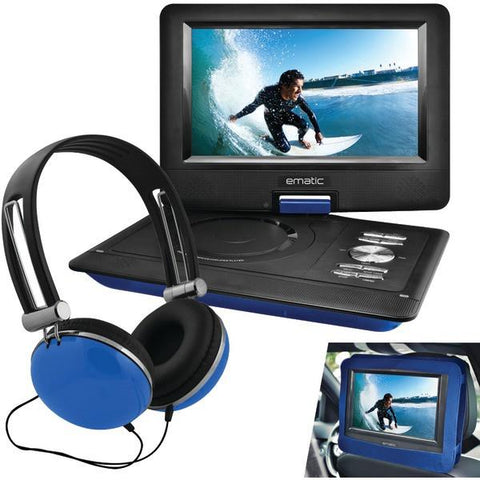 "Ematic EPD116BU 10"" Portable DVD Player with Headphones & Car-Headrest Mount (Blue) - Peazz.com"