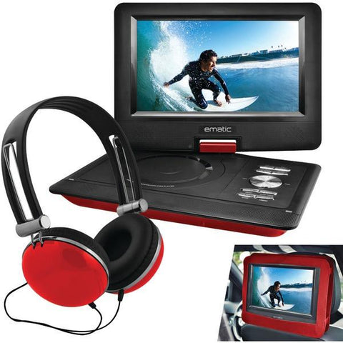 "Ematic EPD116RD 10"" Portable DVD Player with Headphones & Car-Headrest Mount (Red) - Peazz.com"
