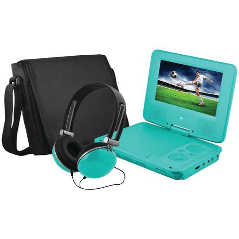 "Ematic EPD707TL 7"" Portable DVD Player Bundles (Teal) - Peazz.com"
