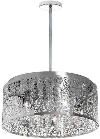 Dainolite SIE-208C-PC 8LT Chandelier Crystal w/ Floral Pattern, PC