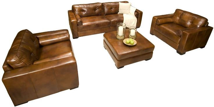 Element Home Furnishing SOH-4PC-S-SC-SC-CO-RUST-1 Soho 4-Piece Top Grain Leather Collection in Rustic including 1-Sofa, 2-Standard Chairs and 1-Cockta