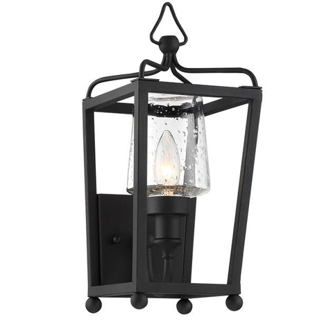 Libby Langdon for Crystorama Sylvan 1 Light Black Forged Outdoor Wall Mount