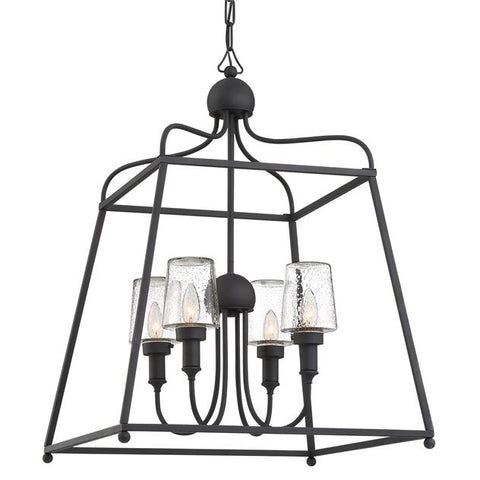 Libby Langdon for Crystorama Sylvan 4 Light Black Forged Outdoor Chandelier