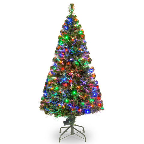 "National Tree SZE7-147-60 60"" Fiber Optic ""evergreen"" Tree with 150 Multi Lights in a 16"" Stand"