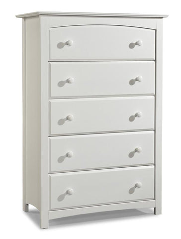 Storkcraft 03555-101 Kenton 5 Drawer Chest-White - Peazz.com