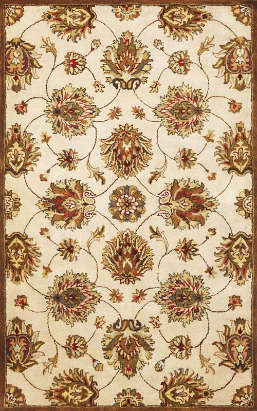 KAS Rugs Syriana 6005 Ivory Allover Kashan Hand-Tufted 100% New Zealand Wool 5'6