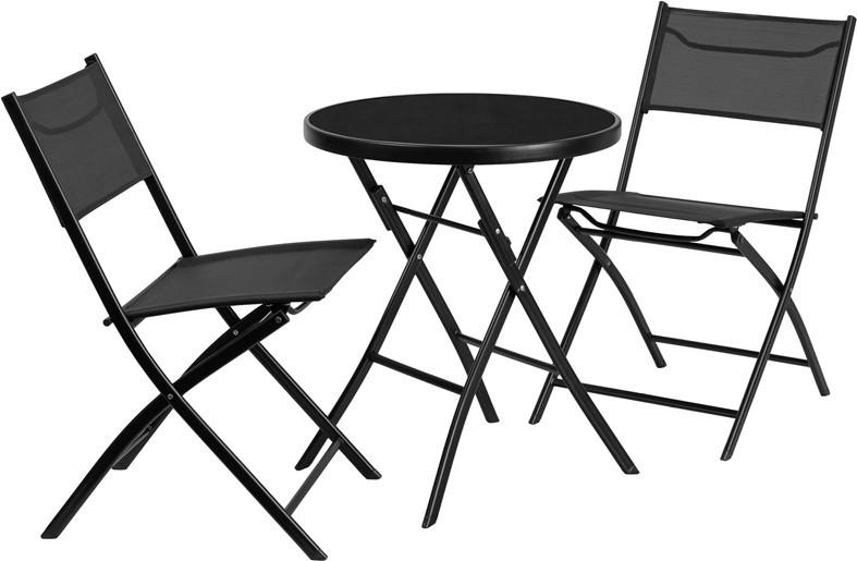 2375 Round Tempered Glass Metal Outdoor Table with 2 Textilene Fabric Folding Chairs