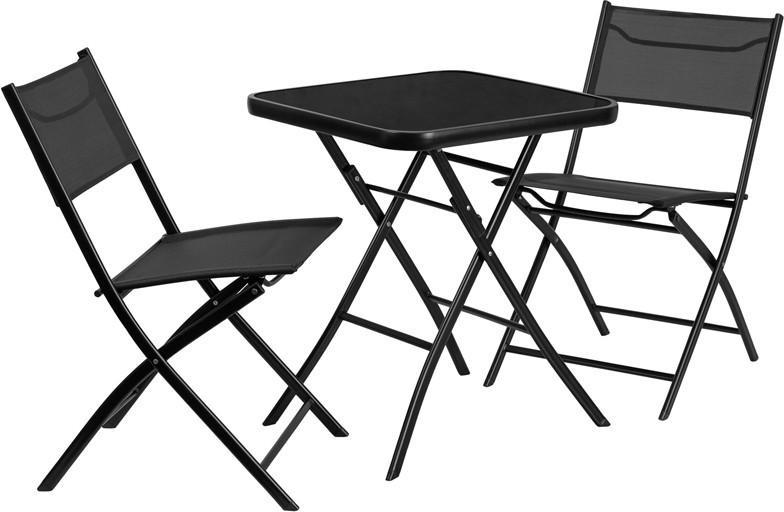 2375 Square Tempered Glass Metal Outdoor Table with 2 Textilene Fabric Folding Chairs