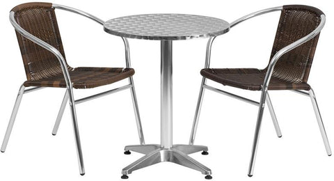 Flash Furniture TLH-ALUM-24RD-020CHR2-GG 23.5'' Round Aluminum Indoor-Outdoor Table with 2 Rattan Chairs - Peazz.com