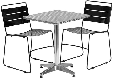 Flash Furniture TLH-ALUM-24SQ-HA1BK2-GG 23.5'' Square Aluminum Indoor-Outdoor Table with 2 Black Metal Stack Chairs - Peazz.com