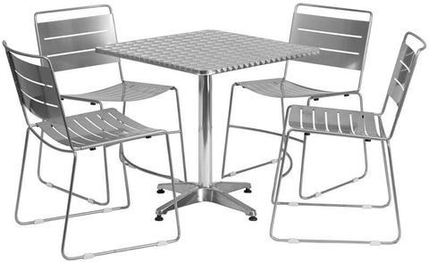Flash Furniture TLH-ALUM-28SQ-HA1SIL4-GG 27.5'' Square Aluminum Indoor-Outdoor Table with 4 Silver Metal Stack Chairs - Peazz.com