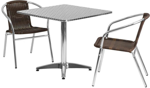Flash Furniture TLH-ALUM-32SQ-020CHR2-GG 31.5'' Square Aluminum Indoor-Outdoor Table with 2 Rattan Chairs - Peazz.com