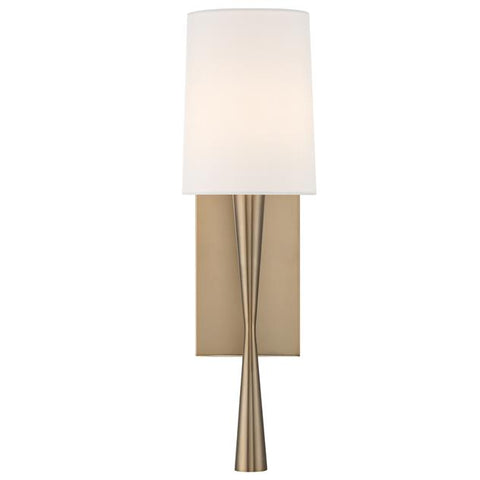 Crystorama Trenton 1 Light Aged Brass Sconce